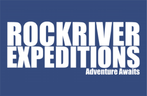 RockRiver Expeditions logo White text on dark blue background